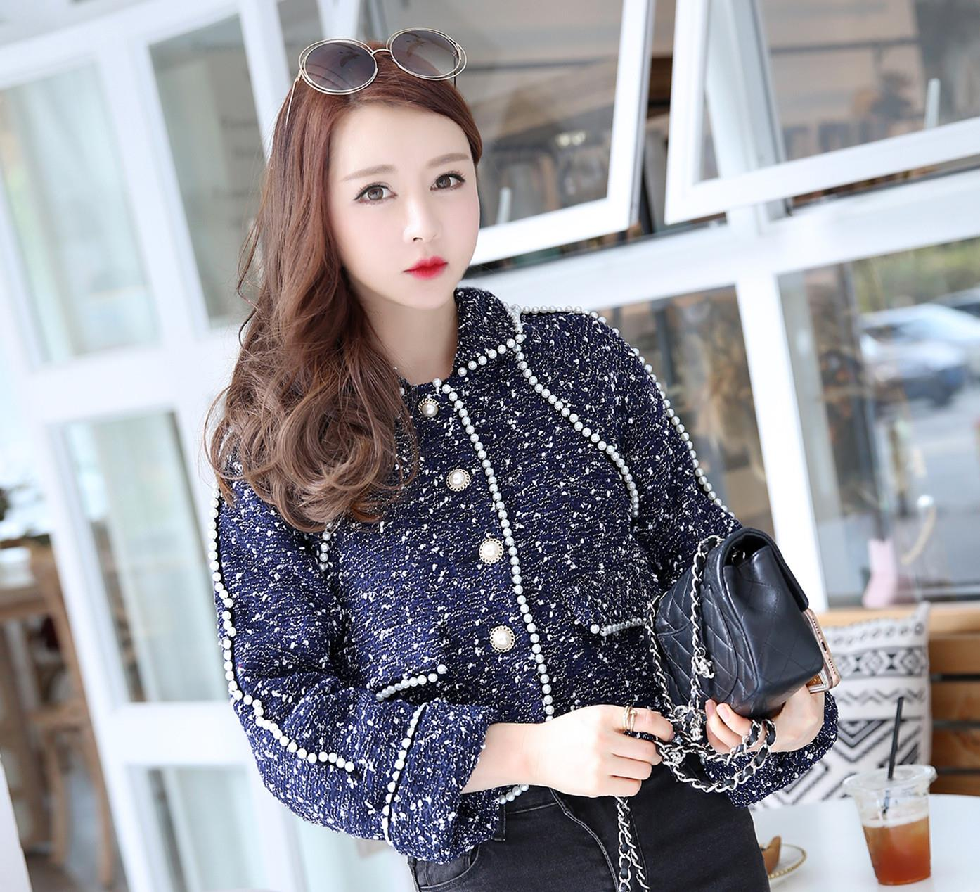 Celebrity Style Beads: Celebrity Small Incense Wind Beads Woolen Small Suit Tweed