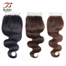 Bobbi коллекция цвет 8 пепельный блонд объемная волна Кружева Закрытие 4x4 закрытие натуральный цвет#2#4#613 блонд индийские Remy человеческие волосы