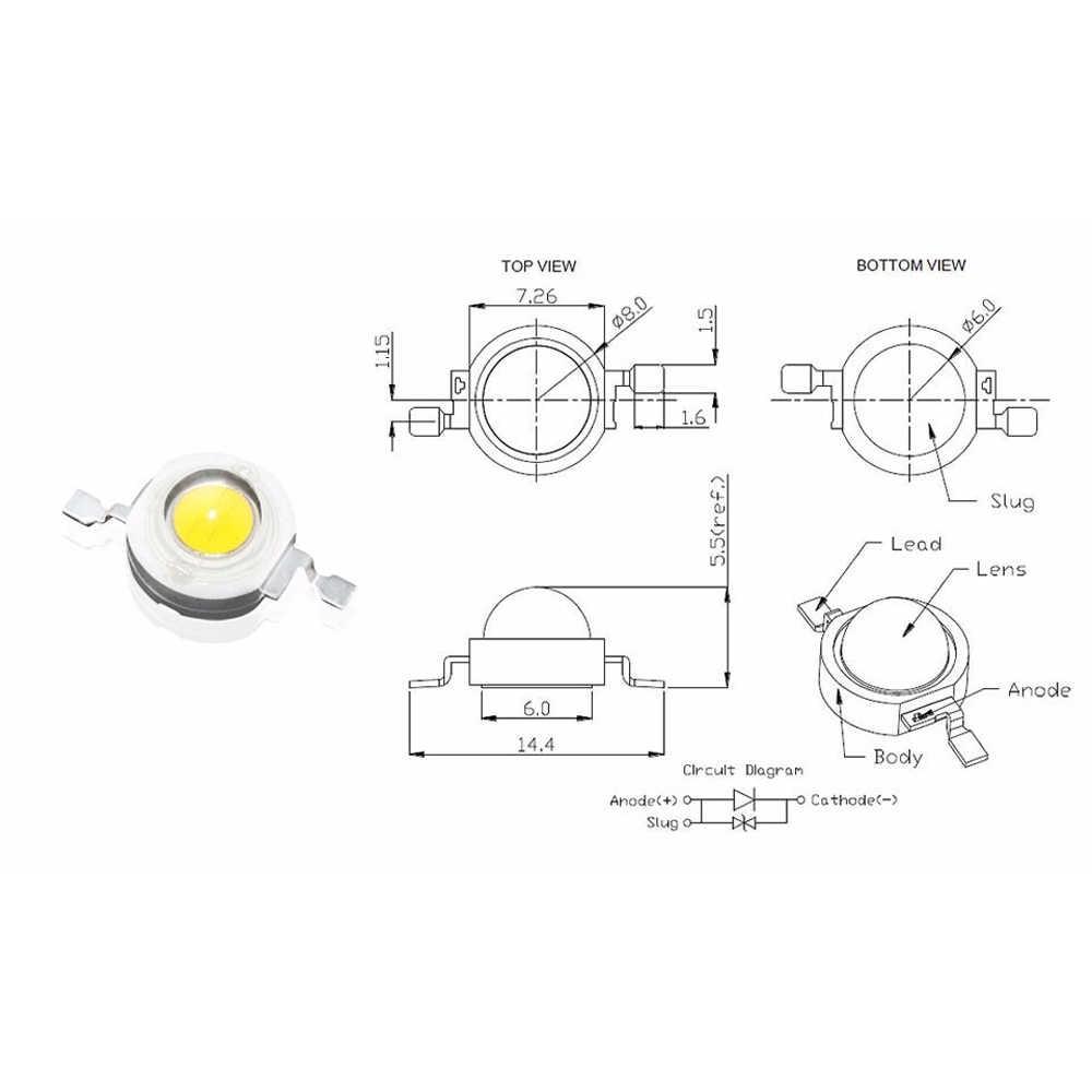 Chips led completos reales Watt CREE 3W de alta potencia LED Bombilla diodos UV de espectro completo led Chip para 3 W-18 W Luz de punto Downlight