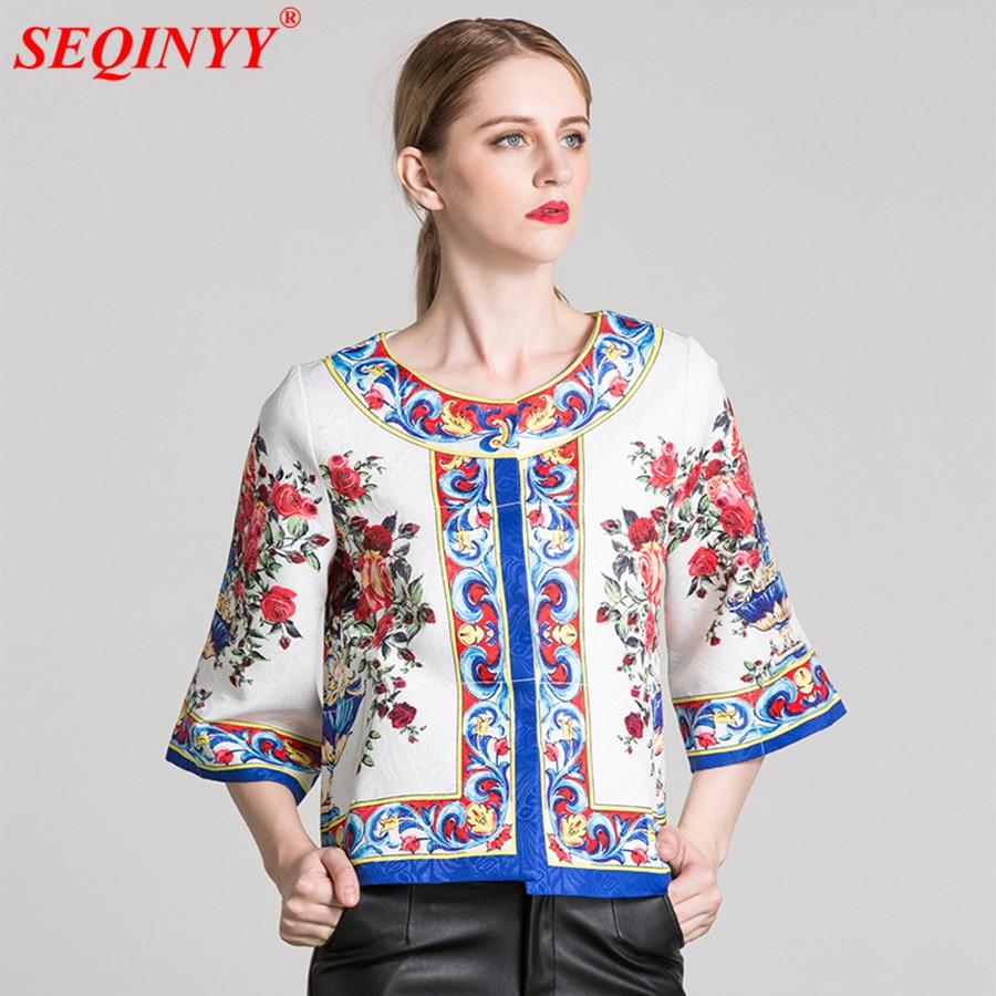 Sicily Jacket Jacquard Rose Flowers Print Casual 2017 Autumn Fashion 3/4 Sleeve High Street Women Big Size Short Runway Jacket