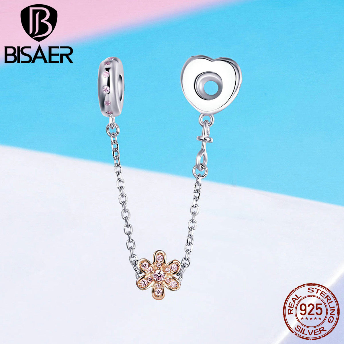 BISAER 925 Sterling Silver Love Heart Flower Safety Chain Charms fit for Bracelets & Bangles Sterling Silver Jewelry ECC1113BISAER 925 Sterling Silver Love Heart Flower Safety Chain Charms fit for Bracelets & Bangles Sterling Silver Jewelry ECC1113