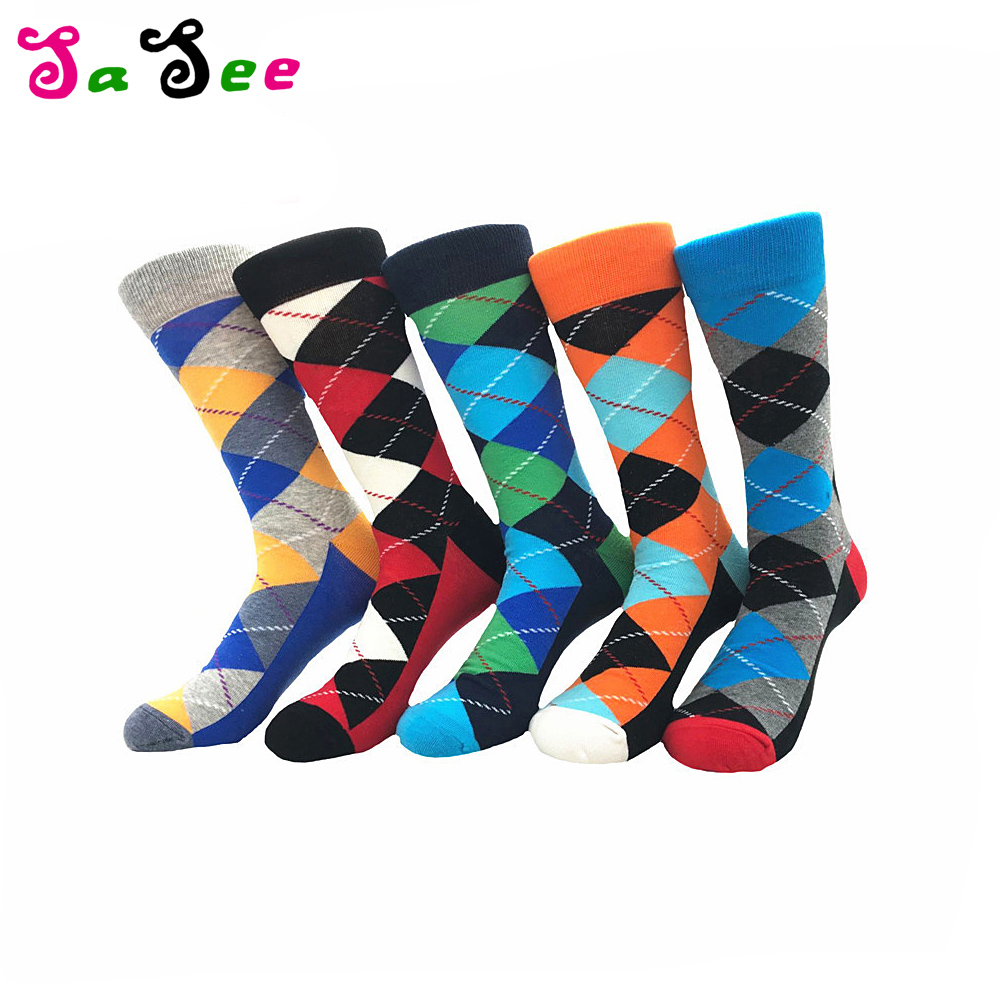 2 Pair Fashion New style High quality Cotton Colorful socks Men happy socks Rhombus Men casual Crew Socks Five Colors