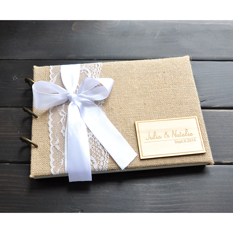 Personalized Wedding Guest Book Burlap Guestbook Album Custom Rustic Engagement Anniversary Gift In Party DIY Decorations From