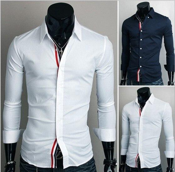 1b6b267476720 Trendy men's shirts long sleeve,slim fit,cotton,crease-resistant,white,navy  blue,mens solid dress shirt M-xxl