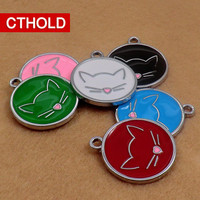 100 pcs/lot Circle Shape Pet Dog Cat ID Tags Personalized Cute Cat Contour Patterns Various Colors Engraved Anti Lost back home