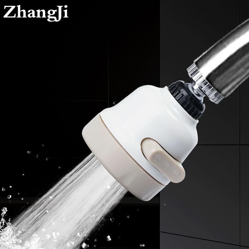 ZhangJi envío libre 3 modos grifo Flexible Filtro de ahorro de agua boquilla pulverizadora 360 grados girar difusor aireador