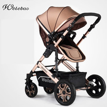 Fashion High view Foldable Baby Stroller Aluminum Alloy Frame Shock Absorption Portable Pram Bi direction Pushchair
