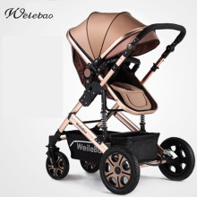 Fashion High-view Foldable Baby Stroller Aluminum Alloy Frame, Shock Absorption, Portable Pram, Bi-direction Pushchair