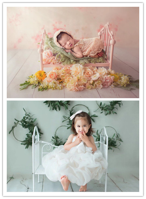 Newborn Photography Props Iron Bed Creative Baby Princess Bed Infant Cute Bed Photo Props Studio