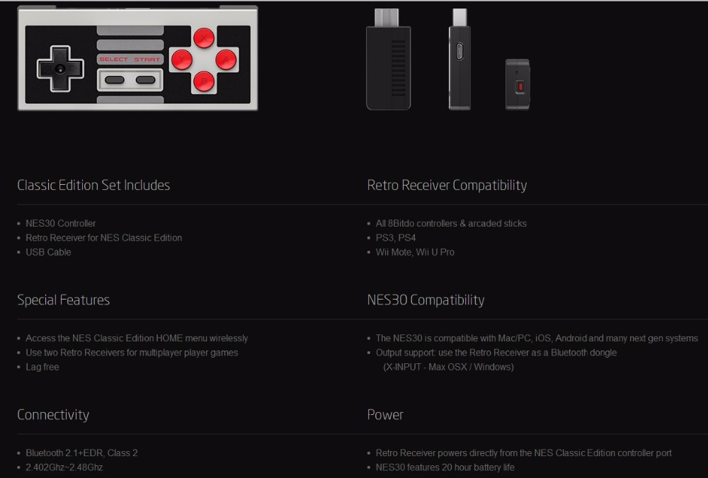 8BitDo N30 Classic Edition Wireless Controller Set with Bluetooth Retro Receiver Mini Support Switch Joy-Cons 6