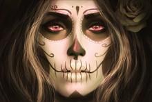 Sugar Skull girl makeup filter RW146 living room home wall modern art decor wood frame poster