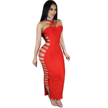 2017 summer sexy Women black Red and white Striped backless Hollow Out sleeveless Bandage Dress  Evening Party dresses wholesal