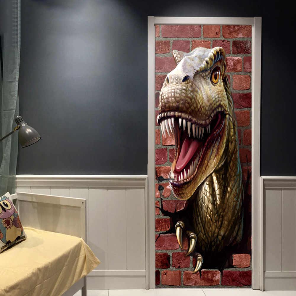 3D наклейки на дверь динозавра творческий спальня декоративные виниловые обои декор для двери мальчиков шкаф для одежды слайд ремонт дверей росписи