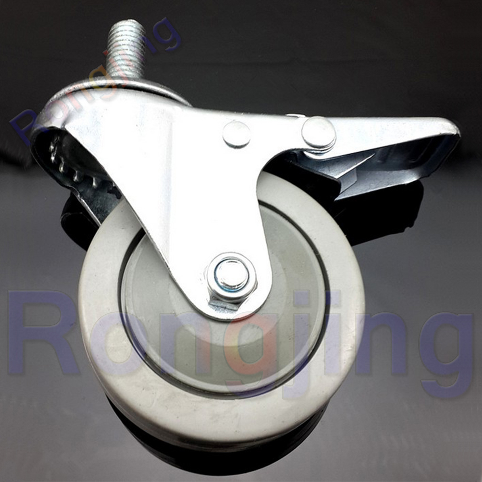 New 2.5'' 360 Degree Furniture Universal Caster With Brake PVC Screw Type Rolling Swivel Castor Tablet Type Chair Fast Pulley