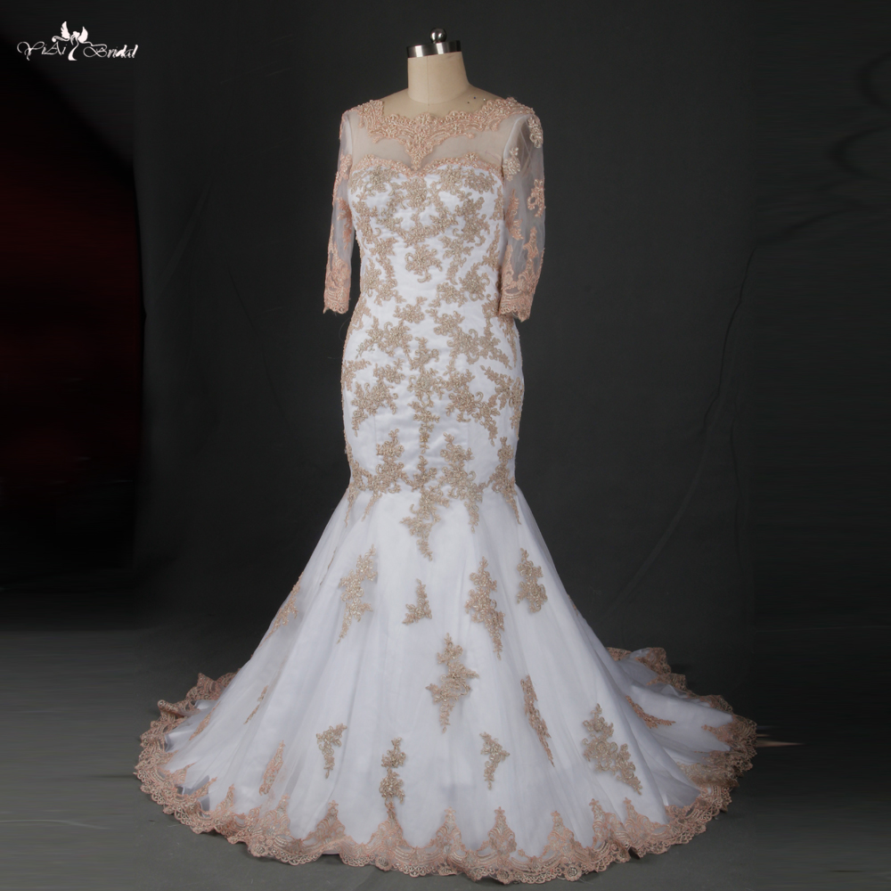 Popular champagne colored vintage lace wedding dresses buy for Wedding dress champagne lace