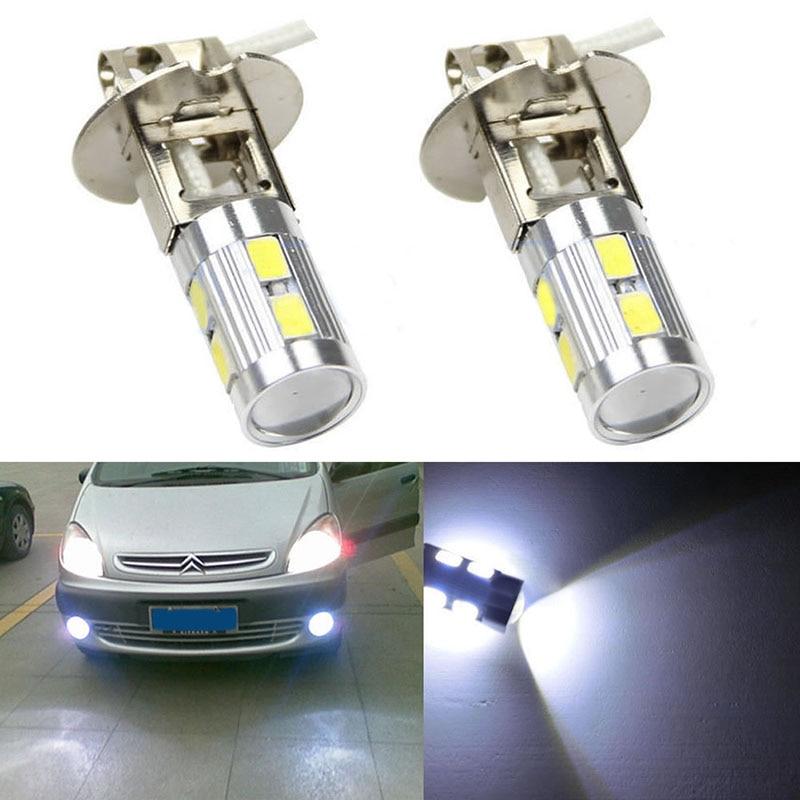 2pcs H3 5630 10SMD LED 4W Car Driving Fog Light Tail Turn Lamp Bulb White 3156 12w 600lm osram 4 smd 7060 led white light car bulb dc 12v