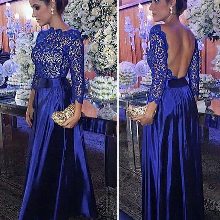 Amazing New Long   Evening     Dress   Boat Neck Long Sleeves Floor Length Lace Satin Backless Prom   Dresses   2017 Robe de soiree longue