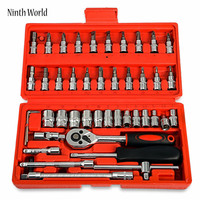 Ninth World 46pcs Car Ratchet Wrench Set 1 4 4 14 Mm Sleeve For Car Motorcycle