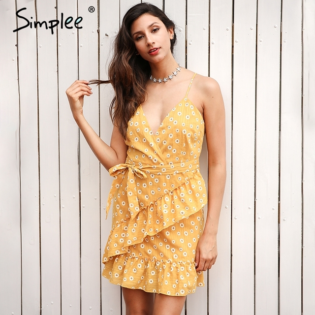 Simplee Sleeveless v neck ruffles summer dress women Backless sashes print mini dress 2017 fashion sexy party dress robe femme