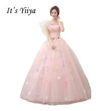 It's Yiiya Pink Strapless Wedding Dresses Ball Gown Appliques Floor Length Color Bridal Frocks Vestidos De Novia Casamento HL019