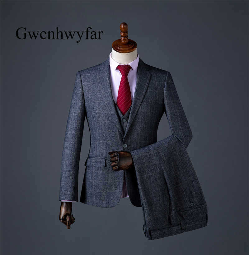 Gwenhwyfar Men Suit 2018 Top Quality Men Suits Formal Men Prom Wedding Party Tuxedos Terno Masculino Suits Men 3Piece Grey Plaid