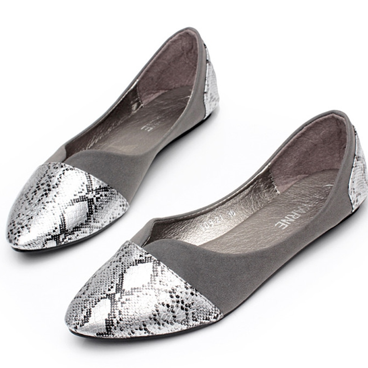 32e2eb7964e Fashion Snakeskin Pattern Pointed Toe Flats Soft Bottom Lazy Shoes Suede Flat  Shoes Women Grey Ballerines Femme Chaussures