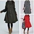 Женщины Твердые Цвет хан издание большой ярдов Корейской версии свободные шерстяная ткань плащ траншеи зимнее пальто