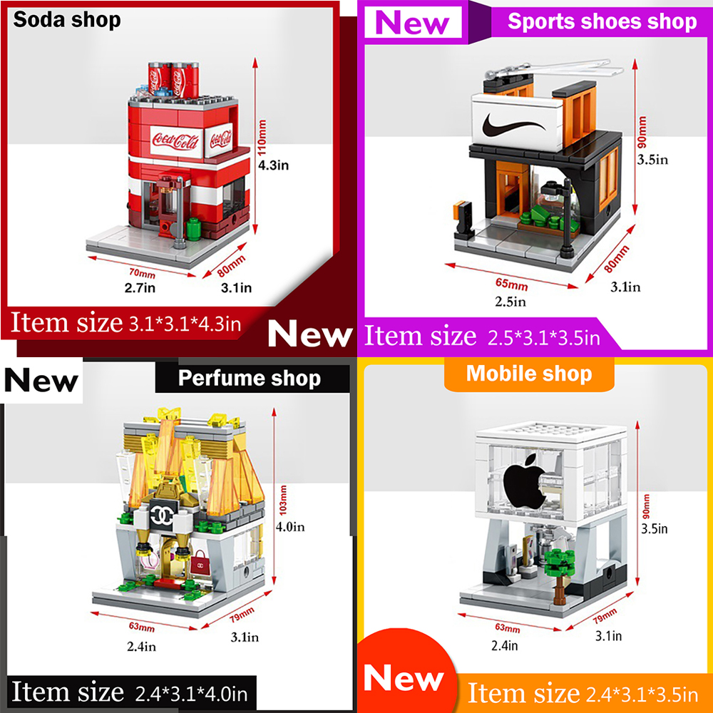 4pcs/Set Mini Street View Building Blocks Bricks City Toys MOC Phone Shop Sports Shop Soda Bag Shop Models Blocks Toys Kids Gift loz diamond block street mini nano building blocks toys for children shop model mobile phone shop mini city bricks building 9036