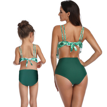 High Waist Bikini 2020 Swimsuit Mom and Daughter Swimsuit Swimwear Women Children Baby Kids Beach Matching Family Bathing Suits 1