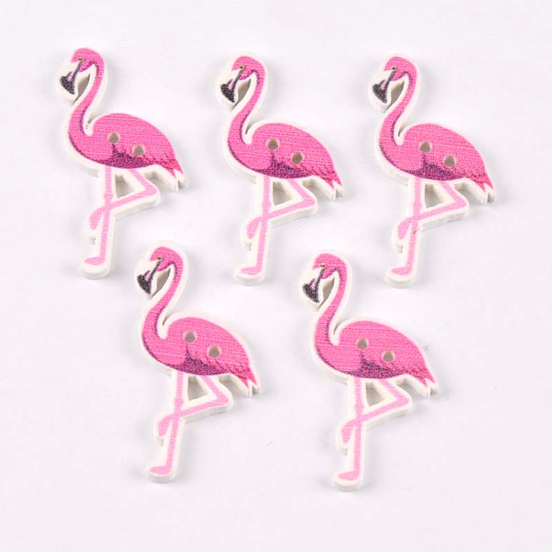 50pcs Wooden Sewing Buttons flamingo Pattern Handmade Scrapbooking Craft Cloth Accessories 36x20mm MT1727 button
