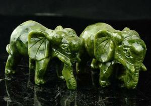 Image 1 - مجموعة رائعة الصينية الطبيعية اليشم الأخضر نحت الحيوان الأفيال طول العمر تمثال الميمون زوج