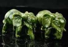 Collectable Exquise Chinese Natuurlijke Groene Jade Carving Dier Olifanten Levensduur Gunstige Standbeeld EEN Paar
