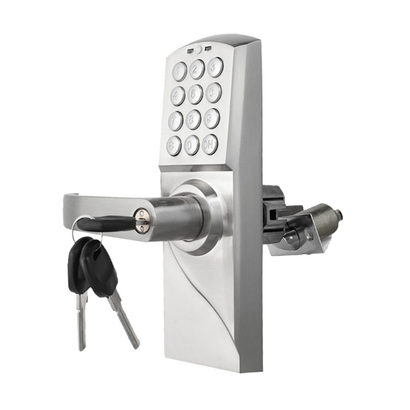 Electronic Code Door Lock Smart Digital Keypad Password, Key Stainless Steel Single Latch lk717BS reversible silver smart digital electronic keypad lock keyless door lock with single latch for commercial buildings villas