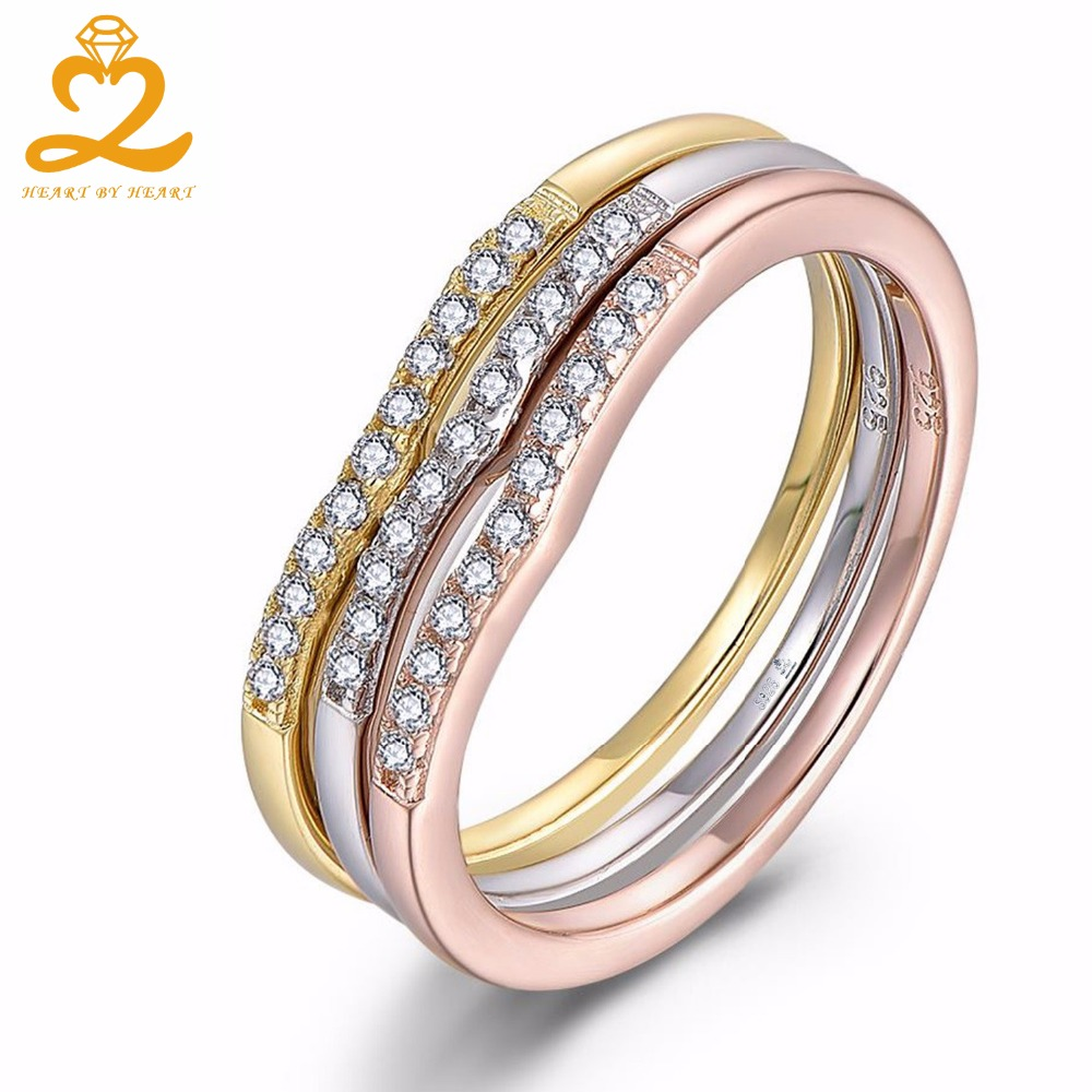rose gold wedding rings for women 3 set of rings 925 sterling silver with gold 7125