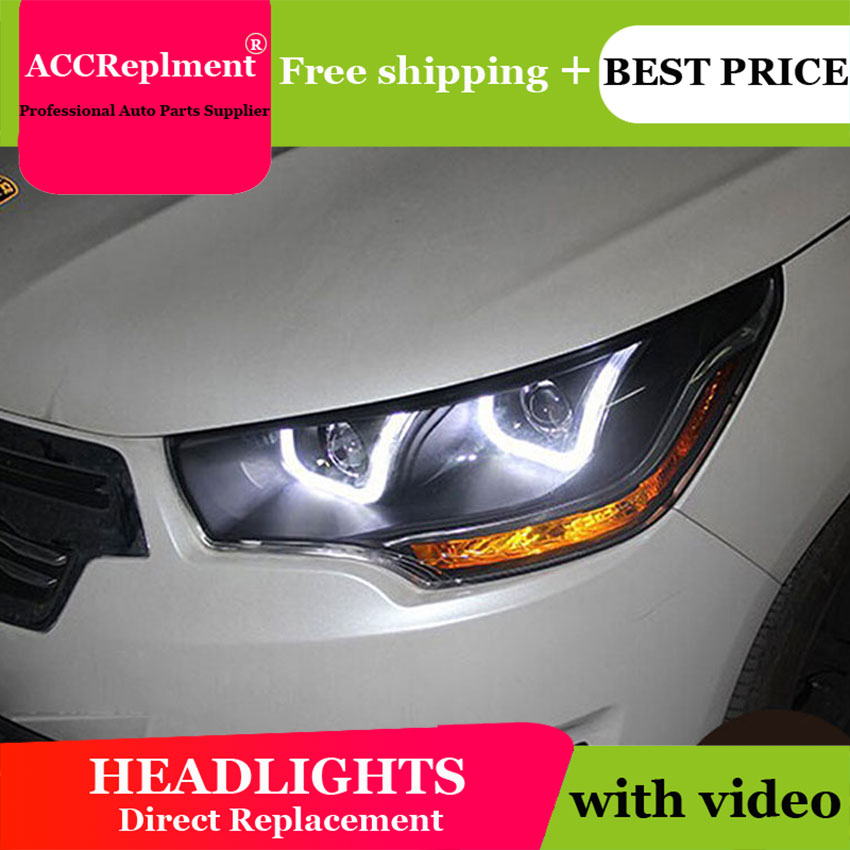 Car Styling For Citroen C4L headlights 2013-2014 C4 led headlight C4 drl projector headlights H7 hid Q5 Bi-Xenon Lens low beam high quality car styling case for citroen quatre c4 2012 2017 headlights led headlight drl lens double beam hid xenon