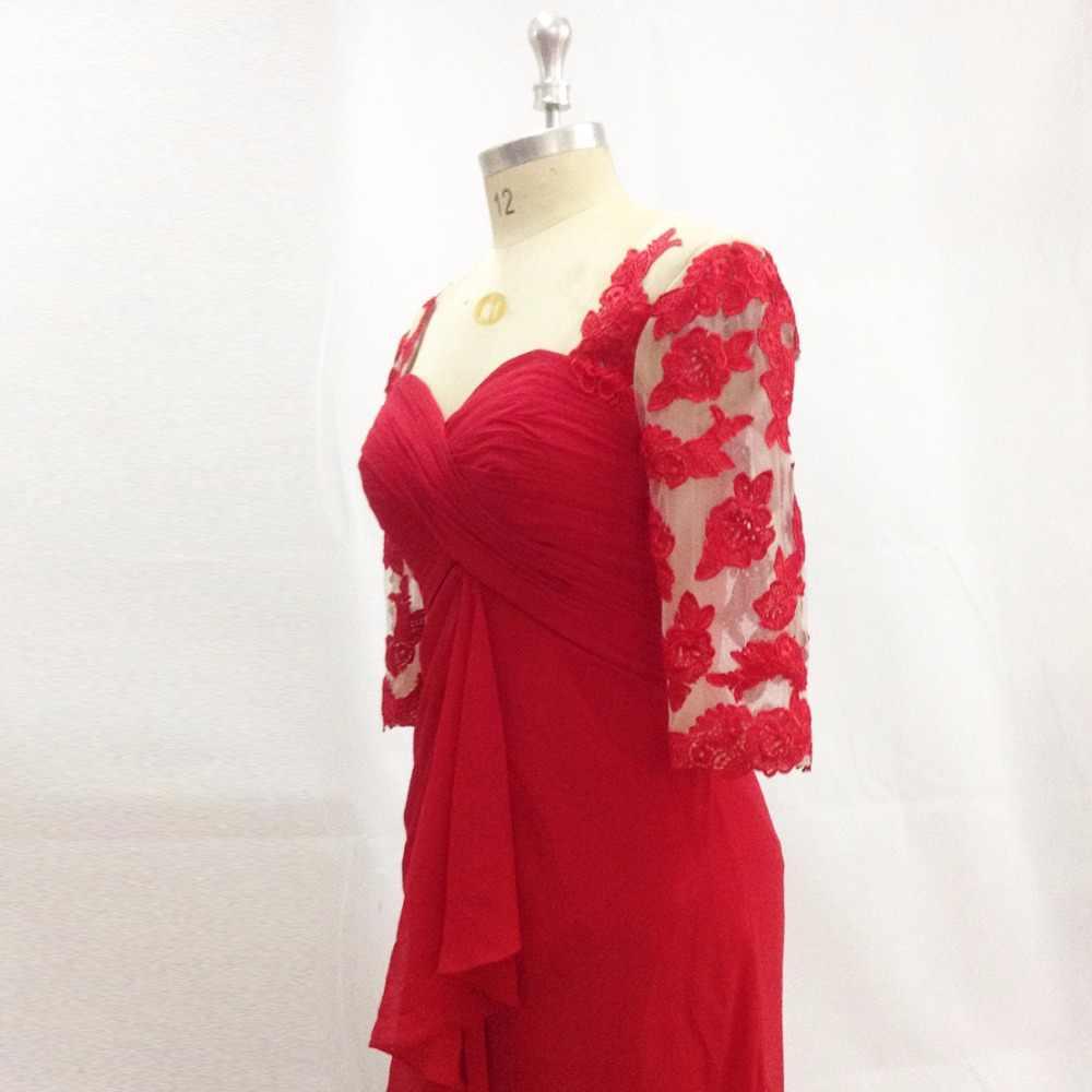 Vestido de festa longo laço vermelho formal vestidos de noite 2017 ocasião especial vestido meia manga chiffon botões deus mãe vestidos