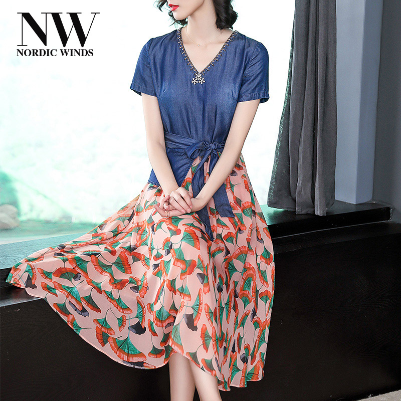 Casual Women Floral Print Beading Dress Denim 2018 Summer Short Sleeve A Line V Neck Empire Jeans Dresses Woman with Sashes Bow