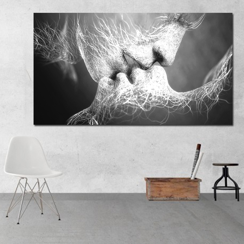 HTB1qbVCHXGWBuNjy0Fbq6z4sXXal Unframed Abstract oil painting Love Kiss Wall Art Canvas Prints Pictures For Living Room Modern Pictures Home Decoration