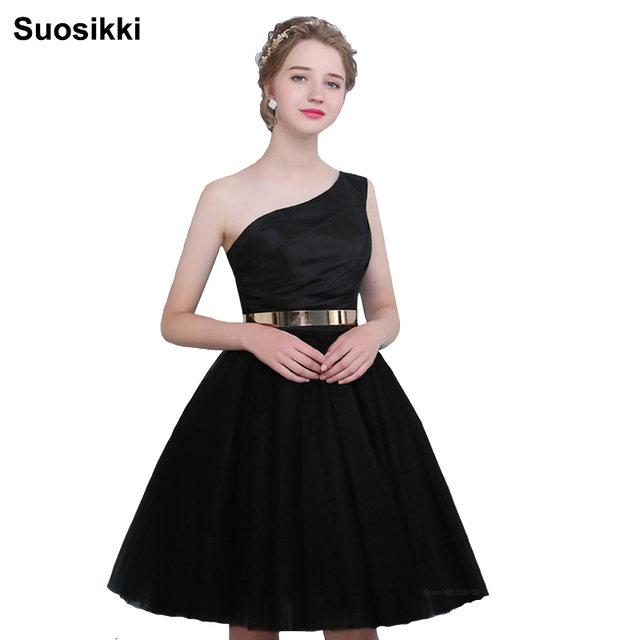 One shoulder tulle evening dress short formal prom dresses occasionelegant  black bridal gowns robe de soiree Suosikki 7e605c95ac33