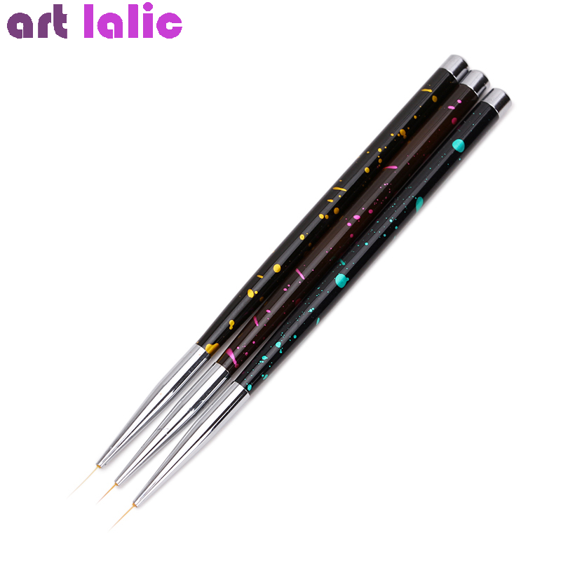 3Pcs 5/9/12mm Metal Nail Art French Stripes Lines Flower Painting Drawing Liner Brush Pen Manicure Tools Kit Set