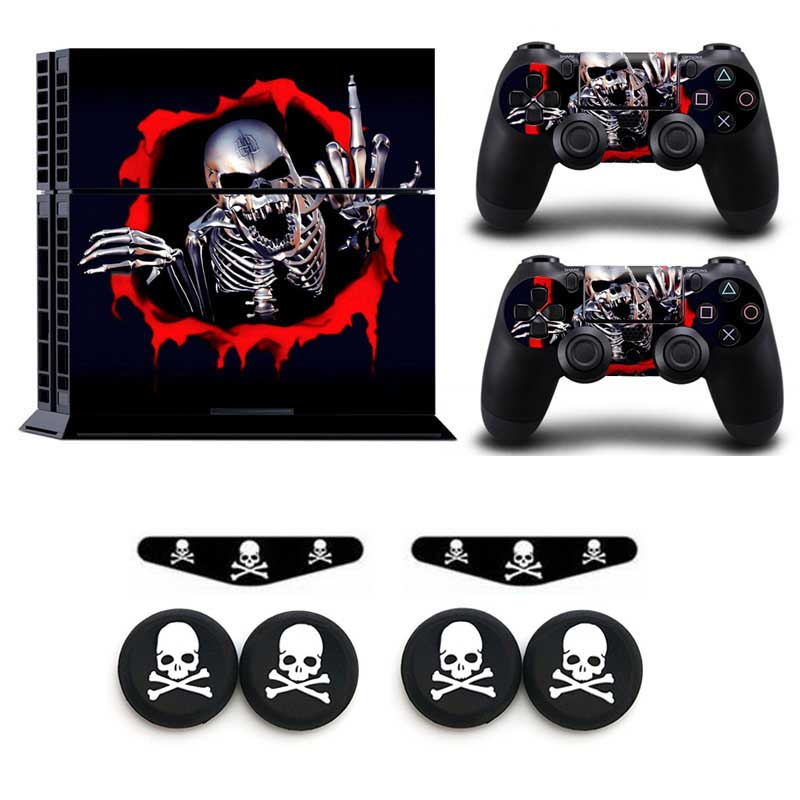 Skull Series Skin Vinyl Sticker Decal For PS4 Playstation 4 Host & Handle Protection Sticker &LED Stickers & Skull Silicone Caps