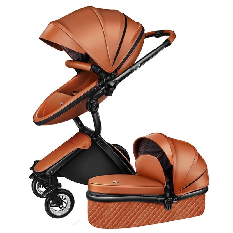 Bateau gratuit! Pas de taxe luxe 3 en 1 bébé poussette marque bébé PU cuir landau EU sécurité siège auto couffin nouveau-né Aulongift