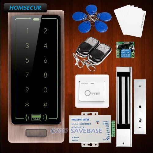 HOMSECUR DIY Access Control System with Waterproof 180KG Magnetic Lock + HOMSECUR Exit Button diy lock system metal keypadl k2 electric control lock 3a power supply exit button 10pcs key cards wireless remote control