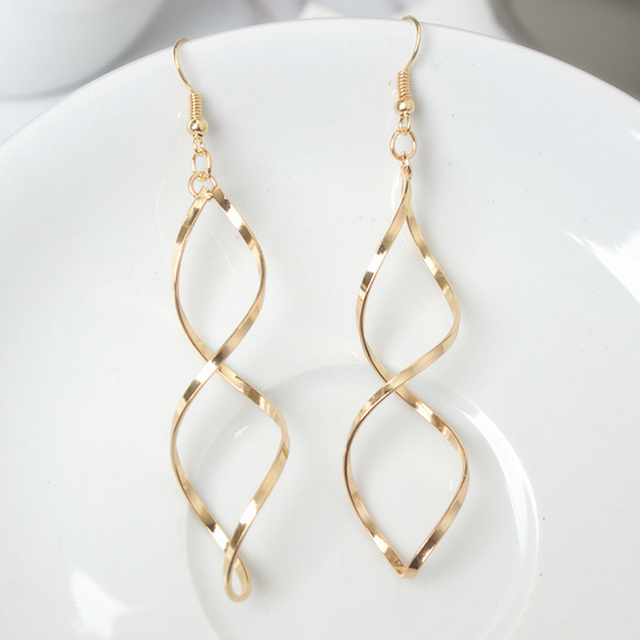 E0247 Fashion Double Loop Drop Earrings For Women Long Wave Dangle Earrings High Quality Statement Wedding Jewelry Wholesale