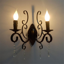 Lámpara de pared vintage clásica europea, cuerpo de hierro forjado negro, candelabro decorativo de cristal, accesorio de luz de pared para sala de estar dormitorio escaleras