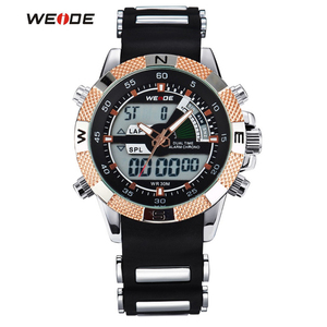 Image 2 - 2019 WEIDE Watches Mens Casual Watch Multifunction LED Watches Dual Time Zone With Alarm Sports Waterproof Quartz Wristwatches