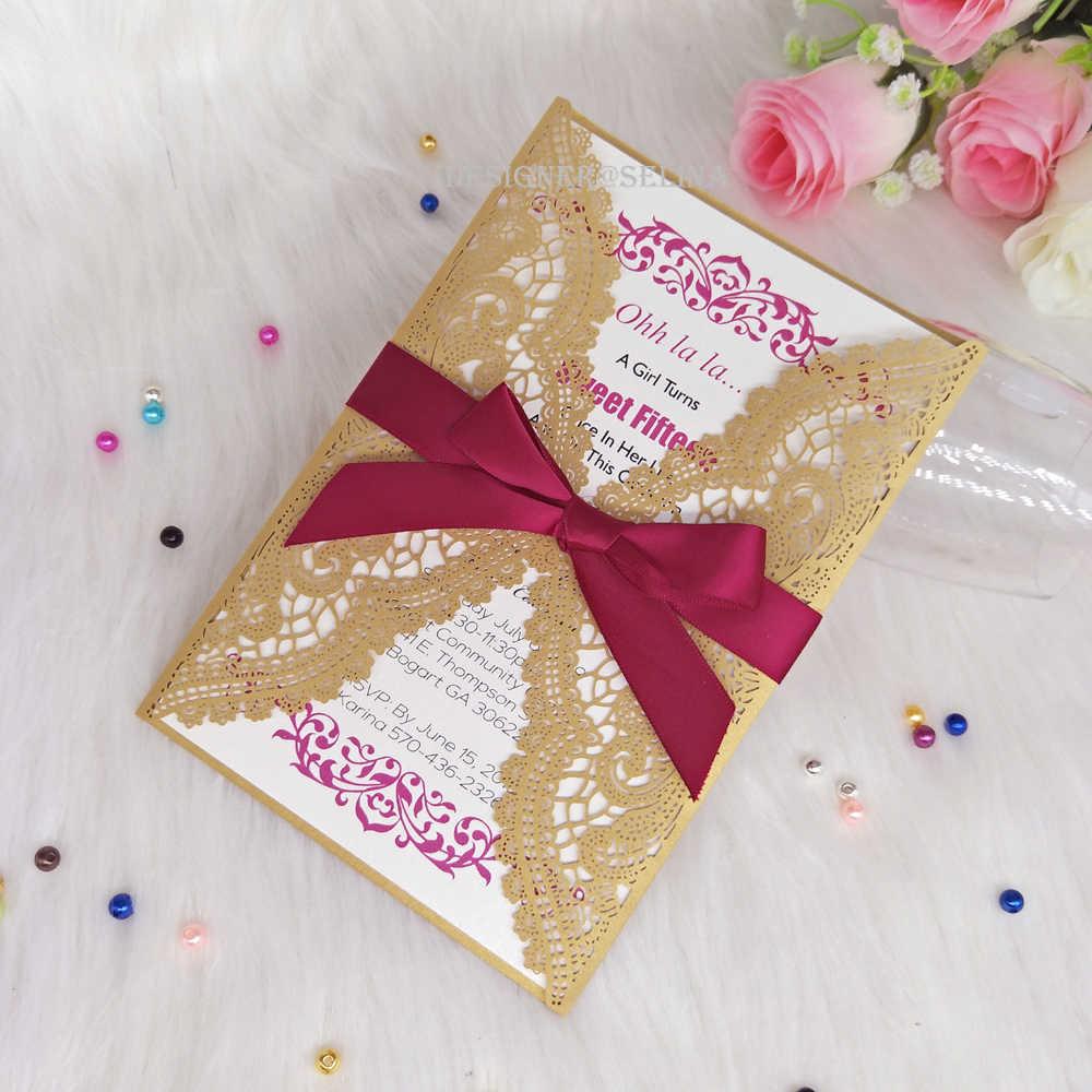 Invitaciones De Boda Doradas Con Cinta Borgoña Floral Corte