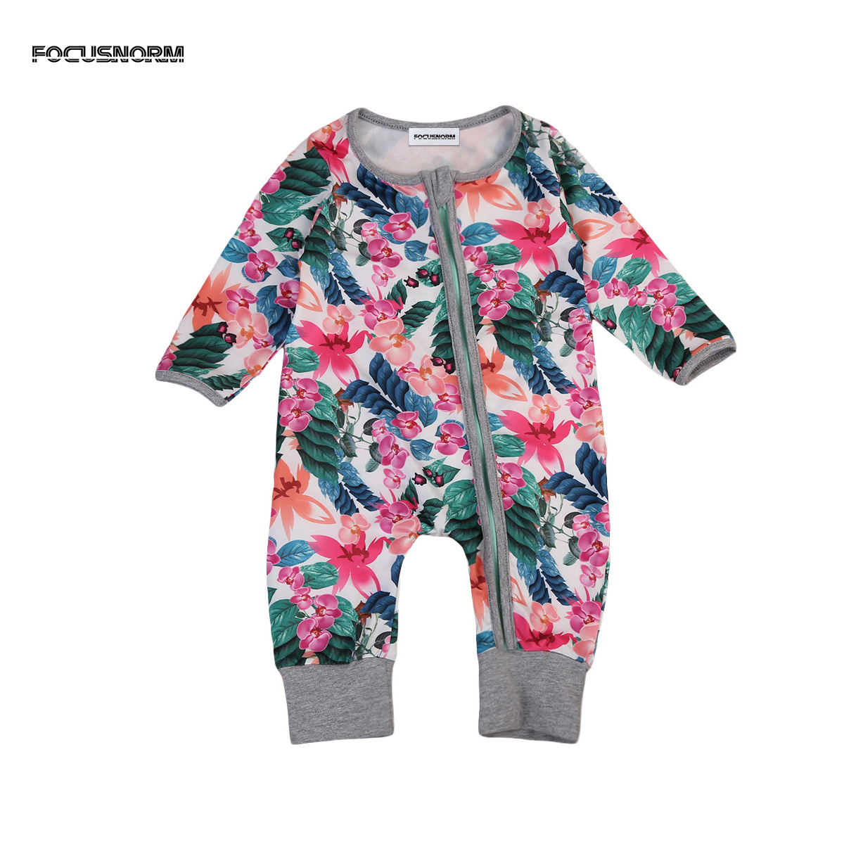 Autumn Newborn Baby Girls Floral Cotton Clothes Long Sleeves Romper Zipper One Piece Jumpsuit Outfits