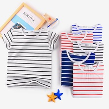 Summer Striped Top Boy's Short Sleeve T shirt Kid's O-neck tshirt Casual wear Free shipping