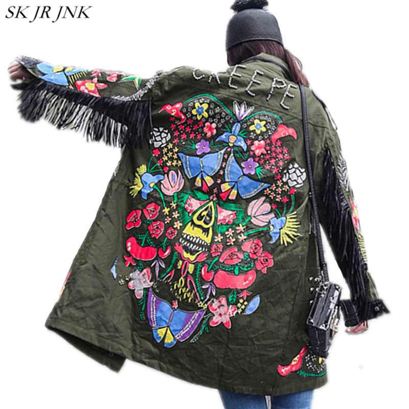 Trench coat 2018 Spring Women Pocket Rivet Zipper Windbreaker Lady Tassel Patchwork Coat Fashion Printed Harajuku Outwear WQ156